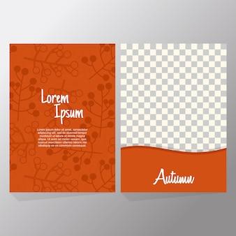 Ensemble de collection orange de vente d'automne et flyer de typographie