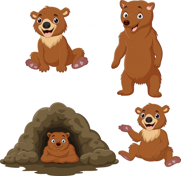 Ensemble de collection d'ours brun dessin animé