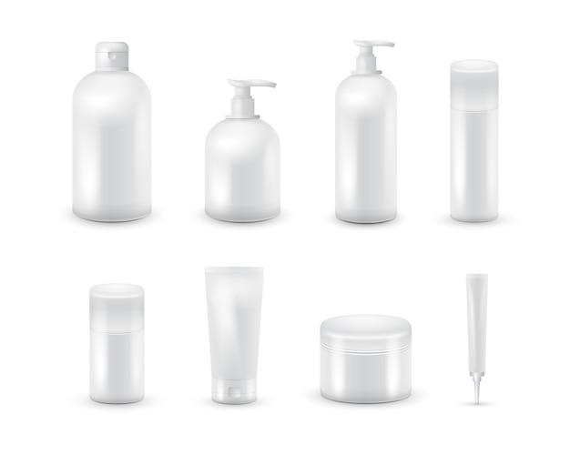 Ensemble de collection de paquet cosmétique vide isolé sur fond blanc. ensemble cosmétique réaliste de bouteille. shampoing et crème.