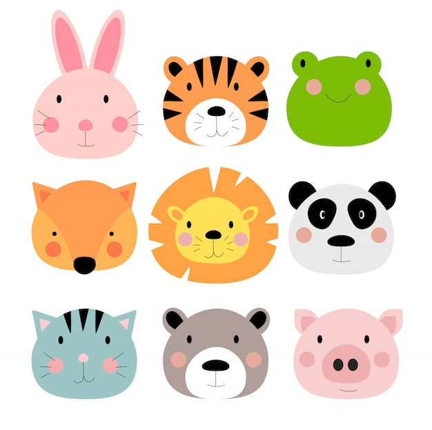 Ensemble de collection de personnages mignons animaux dessinés à la main. animaux de zoo de dessin animé: lièvre, tigre, grenouille, renard, lion, panda, chat, ours, cochon