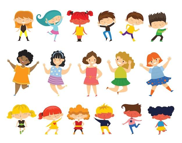 Ensemble de collection de petits enfants heureux