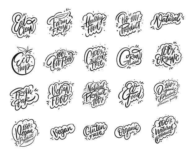 Ensemble de collection de phrases de calligraphie moderne de produit naturel. lettrage dessiné à la main. encre noire.