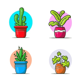 Ensemble de collection de plantes. style de bande dessinée plat