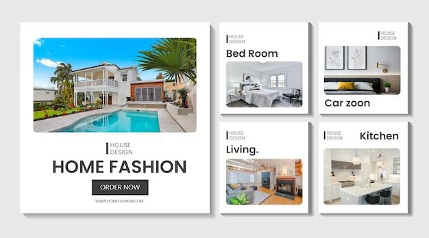 Ensemble de collection de post instagram de vente de maison immobilière