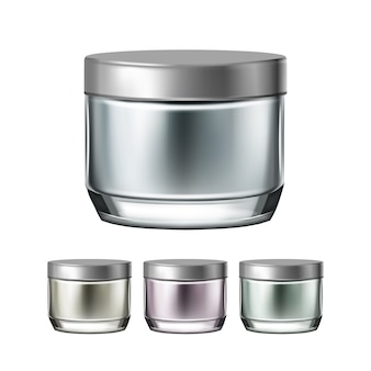 Ensemble de collection de pots élégants de crème de nuit