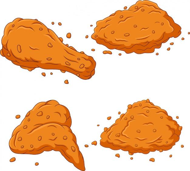 Ensemble de collection de poulet frit de dessin animé