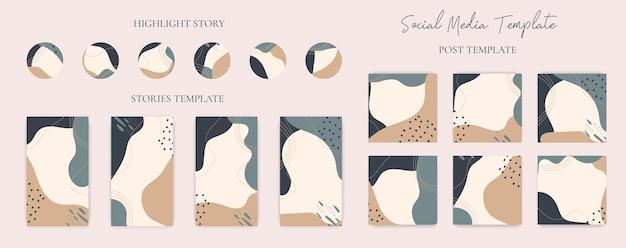 Ensemble de collection de publications de médias sociaux de forme organique abstraite dessinés à la main, d'histoires et de modèle d'icône de surbrillance