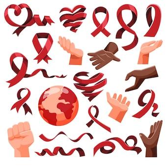 Ensemble de collection de ruban de style plat et icône d'objet de gestes de la main pour la journée du vih sida