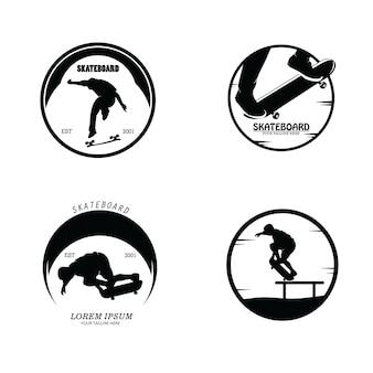 Ensemble de collection de silhouettes de logo de planche à roulettes