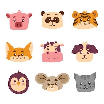 Ensemble de collection de tête de dessin animé animal mignon