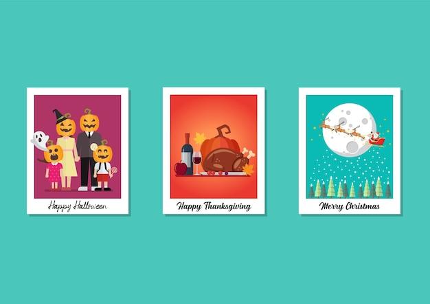 Ensemble de collection de vacances polaroid cadres photo. halloween thanksgiving et noël.
