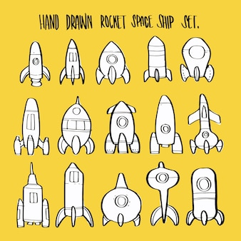 Ensemble de collection de vaisseau spatial fusée rétro cartoon dessiné à la main.