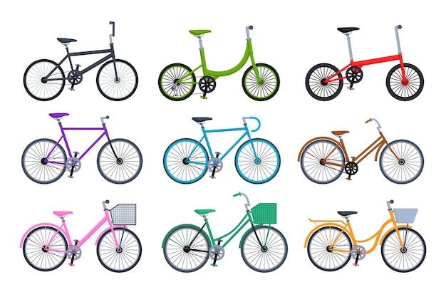 Ensemble de collection de vélos différents isolé sur fond blanc