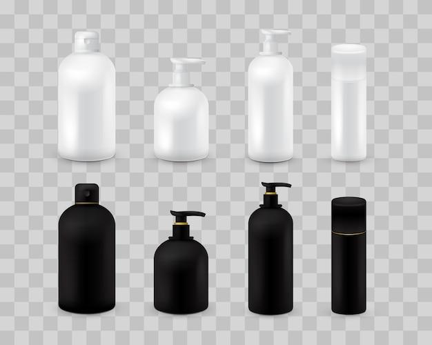 Ensemble de collection vide emballage cosmétique isolé sur damier transparent. ensemble cosmétique réaliste de bouteille. shampoing et crème. couleur noire et blanche