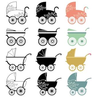 Ensemble de collection vintage baby carriage