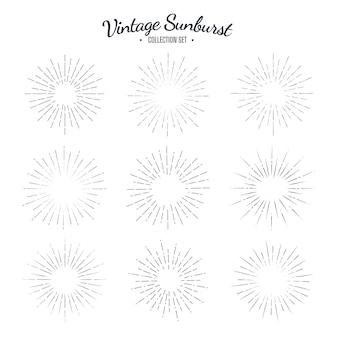 Ensemble de collection vintage sunburst. rayures de conception graphique solaire rétro