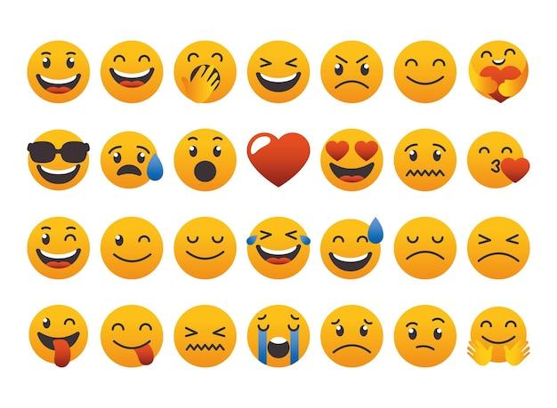Ensemble de collection de visages emoji