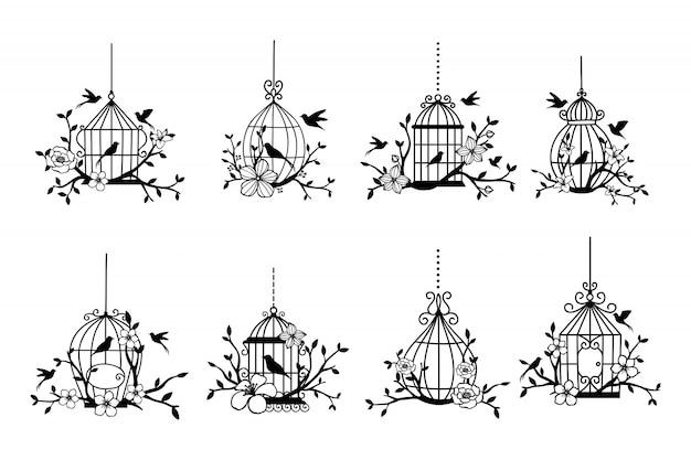 Ensemble de collections de cage à oiseaux de mariage dessinés à la main