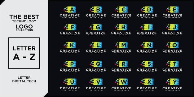 Ensemble de collections de conception de logo géométrique numérique lettre a - z. ensemble de conception de logo d'entreprise de lettre abstraite az.law, icônes pour les affaires de luxe, élégante et aléatoire