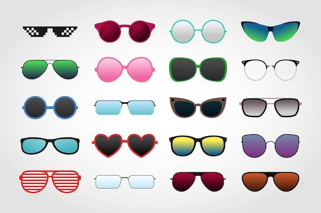 Ensemble de collections de lunettes de soleil sur blanc