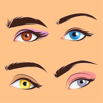 Ensemble de collections de zones d'yeux de près humain illustration vectorielle