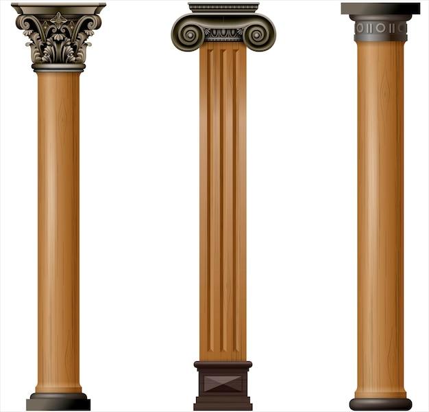 Ensemble de colonnes en bois classiques