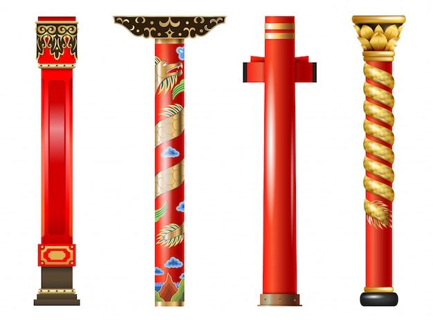 Ensemble de colonnes orientales rouges de chinois et japonais