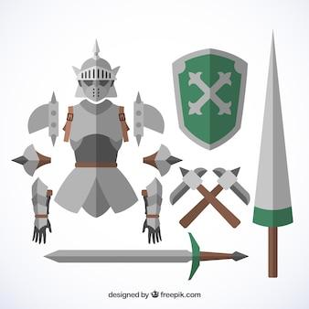 Ensemble coloré d'accessoires de chevalier