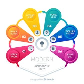 Ensemble coloré d'affaires de modèle d'étapes d'infographie
