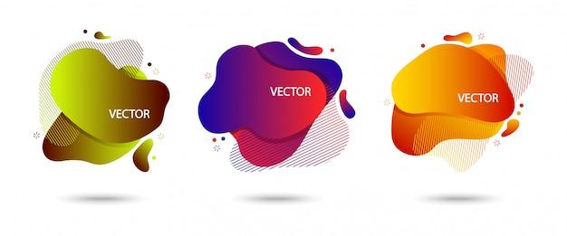 Ensemble coloré de bannière abstraite moderne avec ombre, bulles de différentes formes. mouvement amibe fluide, dégradé coloré.