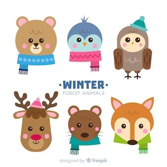 Ensemble coloré de beaux animaux d'hiver