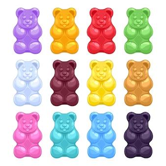 Ensemble coloré de beaux oursons gélifiés réalistes de gelée. bonbons sucrés