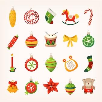 Ensemble, de, coloré, boules, cloches, bonbons, jouets