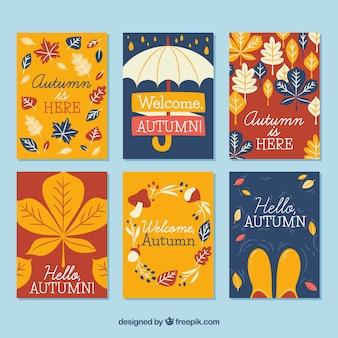 Ensemble coloré de cartes d'automne