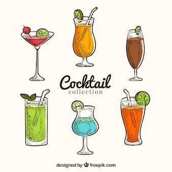 Ensemble coloré de cocktails dessinés à la main