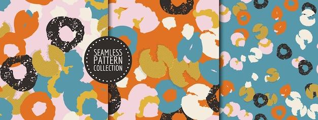 Ensemble coloré de collages d'en-têtes d'arrière-plans de modèles sans couture avec différentes formes et textures