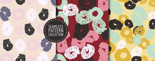 Ensemble coloré de collages d'en-têtes d'arrière-plans de motifs harmonieux avec différentes formes et textures