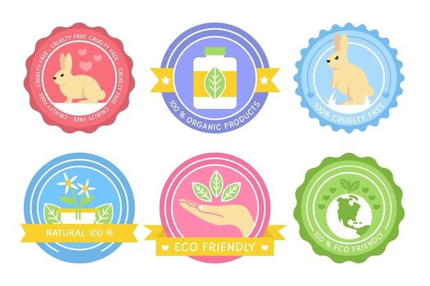 Ensemble coloré de conception plate de badges sans cruauté envers les animaux