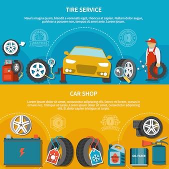 Ensemble coloré de deux bannières horizontales avec atelier de voiture et véhicule de réparation mécanique au service de pneus à plat isolé