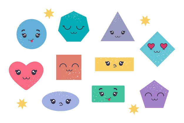 Ensemble coloré de diverses figures géométriques de base lumineuses avec ensemble d'émotions de visage