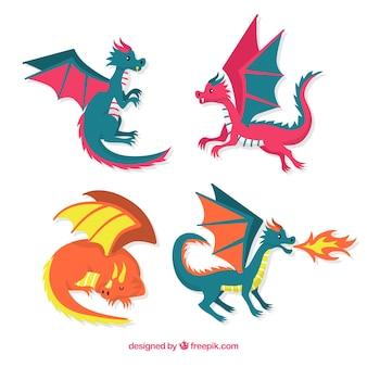 Ensemble coloré de dragons avec un design plat