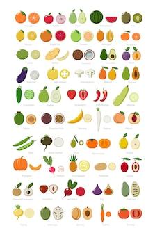 Ensemble coloré de fruits et légumes entiers et coupés