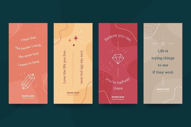 Ensemble coloré d'histoires instagram de citations de motivation