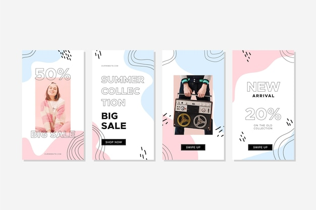 Ensemble coloré d'histoires de vente de mode avec photo