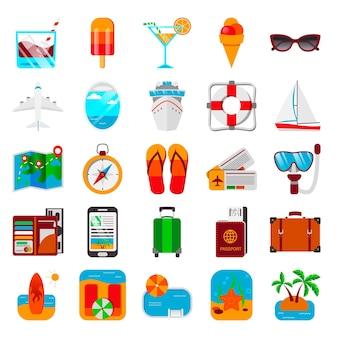 Ensemble coloré d'icônes de voyage