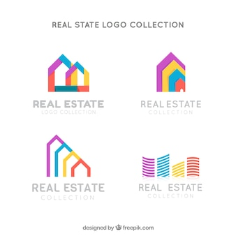 Ensemble coloré de logos immobiliers