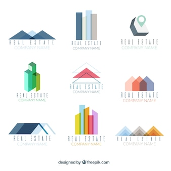 Ensemble coloré de logotypes immobiliers