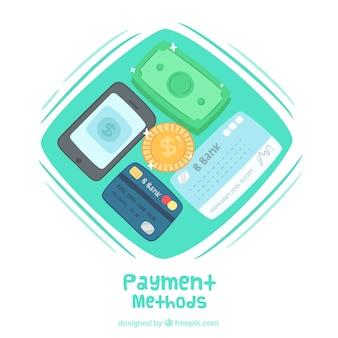 Ensemble coloré de méthodes de paiement dessinées à la main