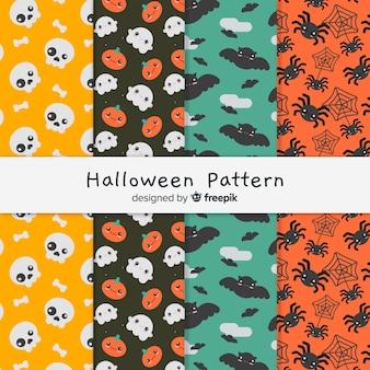 Ensemble coloré de motifs d'halloween avec un design plat