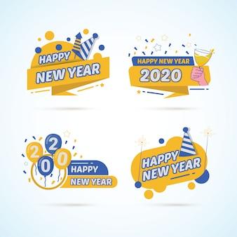 Ensemble coloré de nouvel an 2020 sur la conception d'étiquettes autocollants